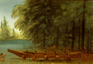 Launching a Canoe - Nayas Indians