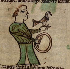 Principality of Wales - Drawing of a falconer from Peniarth 28 manuscript. Wales exported hawks.