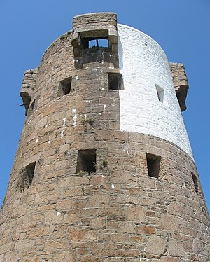Le Hocq - The Jersey Round Tower at Le Hocq is painted in a distinctive pattern to serve as a daymark for navigation