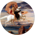 Leighton, Frederic - Perseus On Pegasus Hastening To the Rescue of Andromeda - 1895-96.png