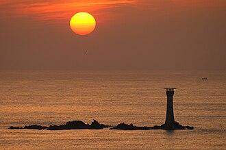 Les Hanois Lighthouse - Les Hanois Lighthouse during a volcanic ash sunset (April 2010)