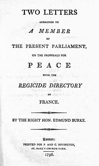 Letters on a Regicide Peace - 1796 title page