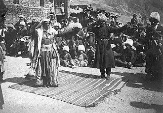 Lezgins - Lezgian people, dancing lezginka in Akhti village, 1900