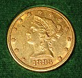 Liberty Eagle $10 gold coin (1883) (obverse) 2.jpg