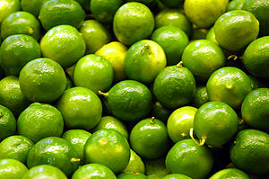Persian Limes in a grocery store.