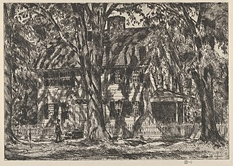 Lion Gardiner - Print of the Lion Gardiner House, Easthampton (Childe Hassam - 1920)