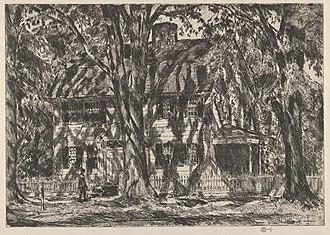 Lion Gardiner - Print of the Lion Gardiner House, Easthampton (Childe Hassam - 1920)