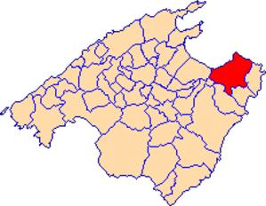 Colònia de Sant Pere - Image: Localització d'Artà
