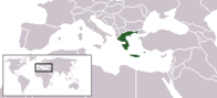 A map showing the location of Greece