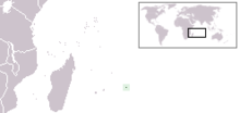 A map showing the location of Rodrigues, an island east of Madagascar in the Indian Ocean