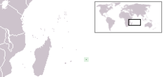 Map showing former range of the Rodrigues solitaire