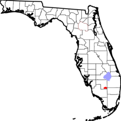 Location of Big Cypress Indian Reservation, Florida.