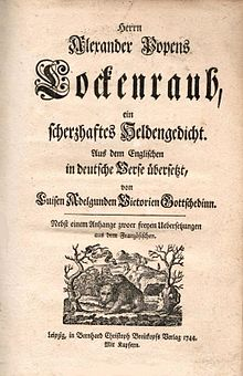 The Rape Of The Lock  Wikipedia Der Lockenraub The  German Translation Of Popes Poem By Luise  Gottsched