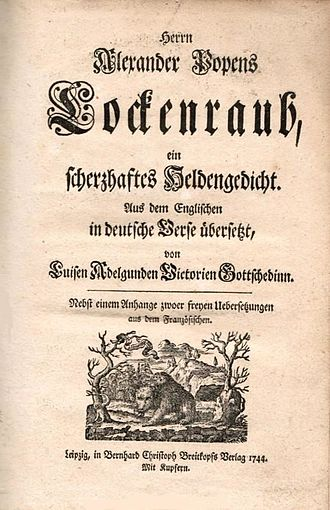 The Rape of the Lock - Der Lockenraub, the 1744 German translation of Pope's poem by Luise Gottsched