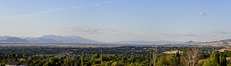 Logan, Utah - Panorama overlooking of the North Logan area north into Franklin, Idaho.