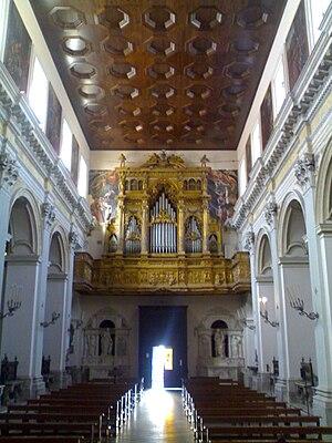 Sant'Anna dei Lombardi - Nave toward the Counterfacade.