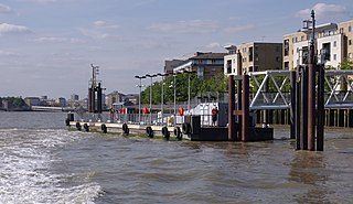 pier on the River Thames near the Isle of Dogs