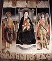 Lorenzo Da Viterbo - Madonna Enthroned with the Infant Christ, St Peter and St Michael - WGA13556.jpg