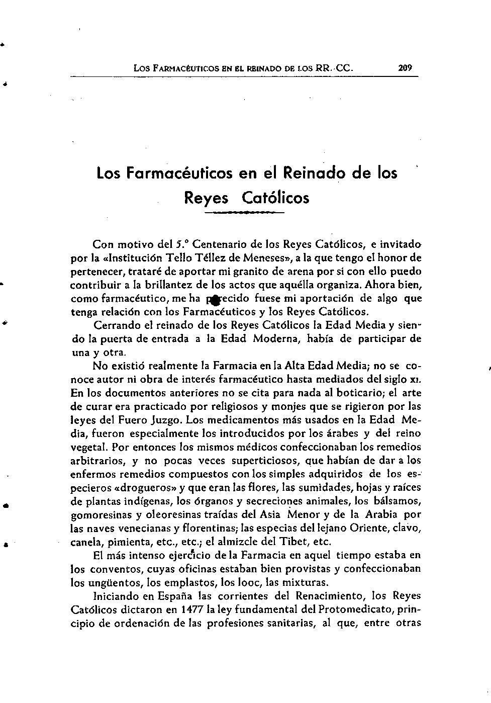 Archivo los farmac uticos en el reinado de los reyes for Pisos el encinar de los reyes