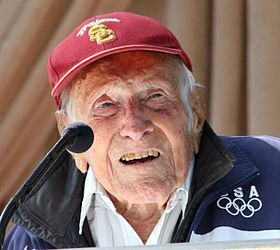 Louis Zamperini at announcement of 2015 Tournament of Roses Grand Marshal.JPG