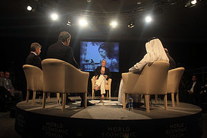 CNBC Europe - Then-CNBC Europe journalist Louisa Bojesen moderates a debate at the 2009 World Economic Forum on the Middle East in Jordan.