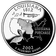 The Louisiana Purchase shown on the 2002 Louisiana State Quarter.