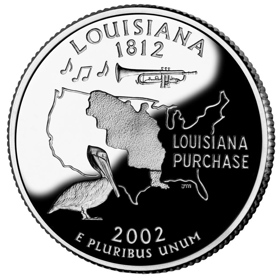 Louisiana quarter, reverse side, 2002