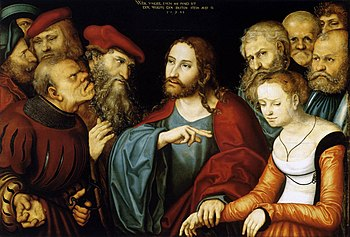 Lucas Cranach d. Ä. - Christ and the Adulteres...