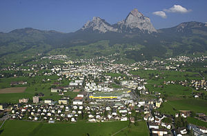 Schwyz - View of Schwyz town below the Mythen mountains