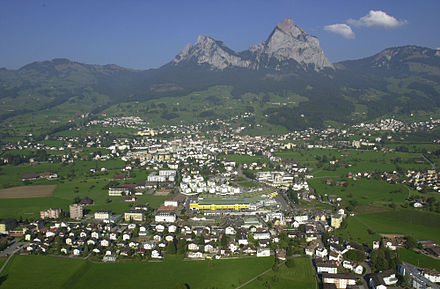 Schwyz town at the base of the Mythen mountains