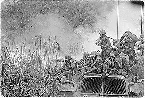 M48 Patton - U.S. Marines riding atop an M48 tank, Vietnam, April 1968.