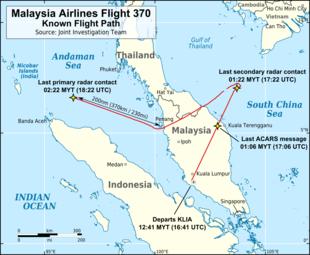 La rotta di MH 370 conosciuta secondo i radar civili primari (militari) e civili (secondari)
