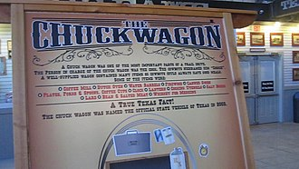 "Chuckwagon - Charles Goodnight's  chuckwagon was named in 2003 as the ""official state vehicle"" of Texas; exhibit is at the Texas Cowboy Hall of Fame in the Fort Worth Stockyards in Fort Worth."