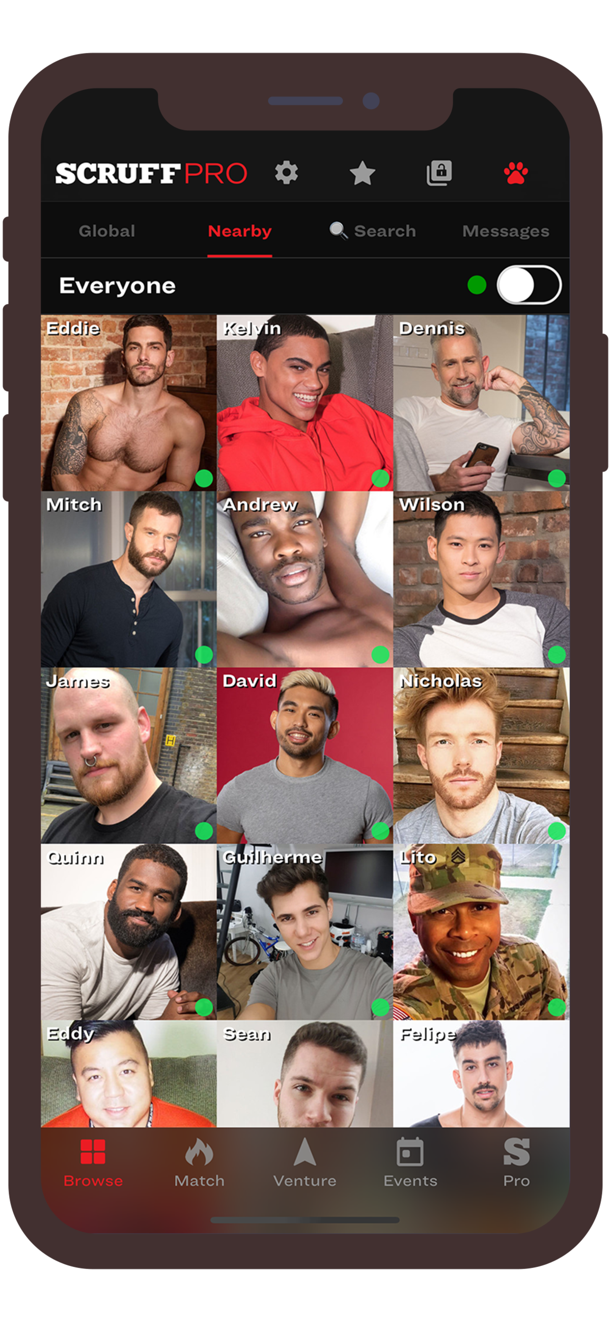 SCRUFF is an international social application for gay, bisexual, and transgender men that runs In, S