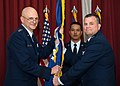 Maj. Gen. Dwyer L. Dennis assumes leadership of the C3I and Networks Directorate from Lt. Gen. Arnold W. Bunch, Jr., Military Deputy, Office of the Assistant Secretary of the Air Force for Acquisition (160425-F-JW594-088).jpg