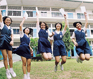 Malaysian school uniform - Malaysian school girls in tunics
