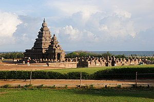 Hinduism in Tamil Nadu - Shore Temple built by the Pallavas at Mamallapuram (c. eighth century C.E.) – UNESCO World Heritage Site.