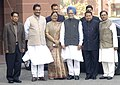 Manmohan Singh with the Union Minister for Information & Broadcasting and Parliamentary Affairs, Shri Priyaranjan Dasmunsi, the Ministers of State, Prime Minister's Office, Shri Prithviraj Chavan, Personnel.jpg
