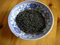 An example of a slightly higher grade of Chinese green tea, called Mao Jian.