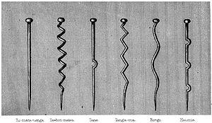 Māori mythology - Six major Máori departmental gods represented by wooden godsticks: left to right, Tūmatauenga, Tāwhirimātea, Tāne, Tangaroa, Rongo, and Haumia