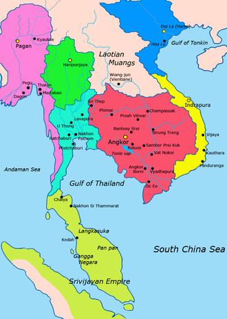 Lavo Kingdom - 1000–1100   Light Blue: Lavo Kingdom   Red: Khmer Empire  Green: Hariphunchai   Light Green: Srivijaya  Yellow: Champa   Blue: Đại Việt   Pink: Pagan Kingdom