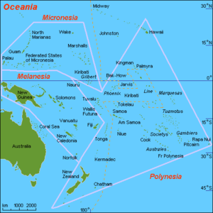 Oceanian realm - Map of islands of Oceania.