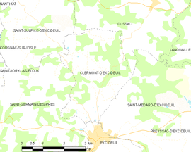Mapa obce Clermont-d'Excideuil