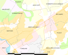 Mapa obce Essey-lès-Nancy