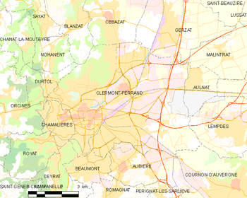 Map of the commune of Clermont-Ferrand