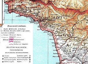 History of Abkhazia - Map of Sukhumi district (Abkhazia), 1890s