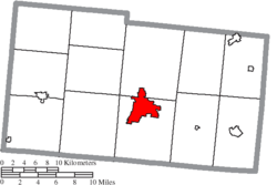 Location of Urbana in Champaign County