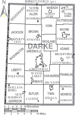 Municipalities and townships of Darke County.