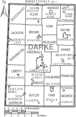 Map of Darke County Ohio With Municipal and Township Labels.PNG