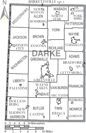 Darke County, Ohio - Map of Darke County, Ohio with Municipal and Township Labels